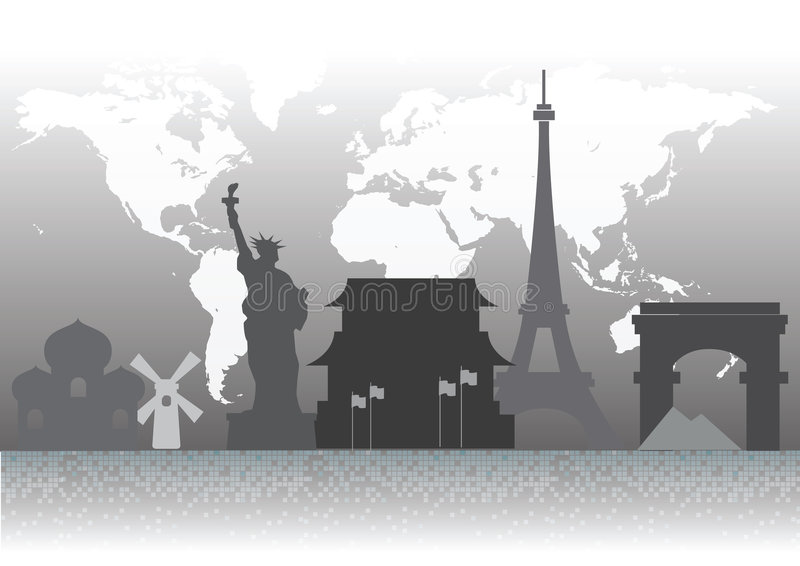Download Famous Landmark Silhouettes Stock Vector - Image: 8231637