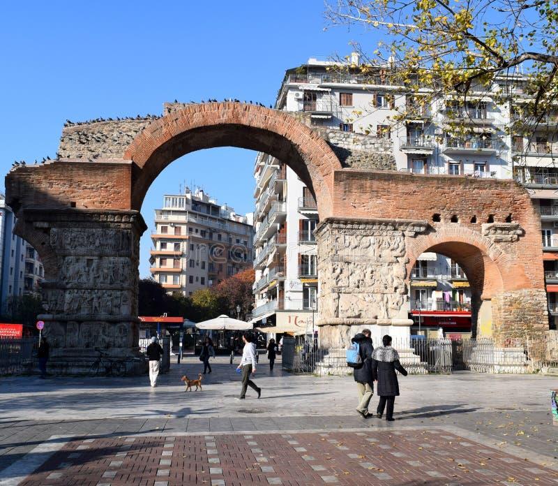 Thessaloniki, Greece - December 28 2015: Arch of Galerius, landmark in Thessaloniki, Greece royalty free stock photos