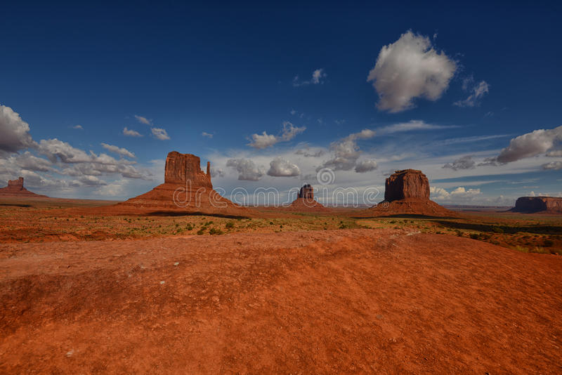 Famous Landmark in the United States: Monument Valley. Desert and monuments stock photography