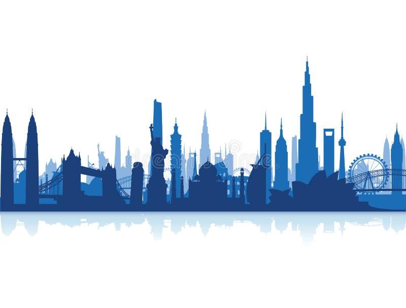 Famous landmarks cityscape. A group of famous landmarks cityscape background vector illustration