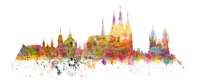 Famous landmarks of Prague - Hradcany - Cathedral of Saint Vitus. Church of saint Nikolas, church of Virgin Mary front Tyn - watercolors art print vector illustration