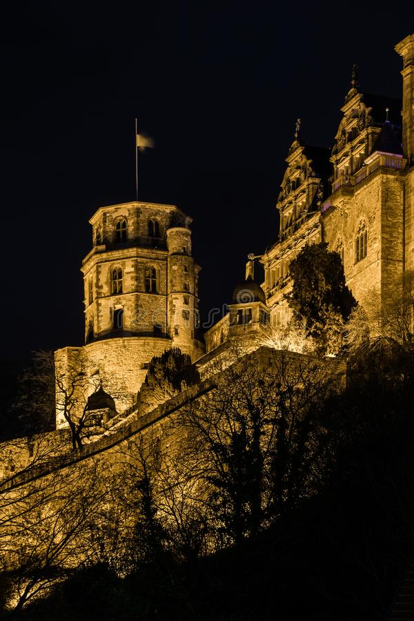Ancient heidelberg castle on hilltop at night. Famous landmarks in south west germany ancient heidelberg castle on hilltop at night stock images