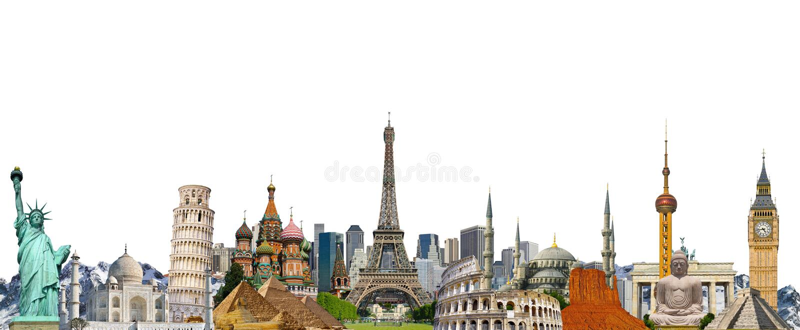 Famous landmarks of the world stock illustration