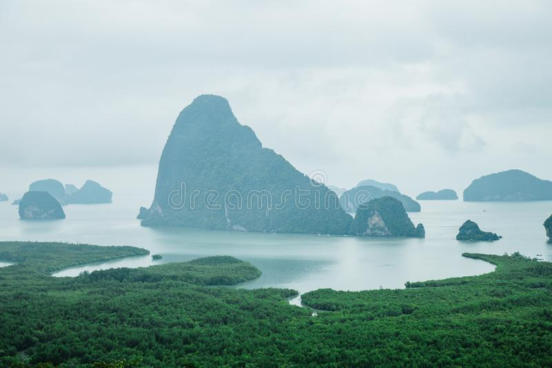 Famous landscape view point in Southen of Thailand. Name `Samet Nang She`, locate in Phang Nga province, Thailand royalty free stock images