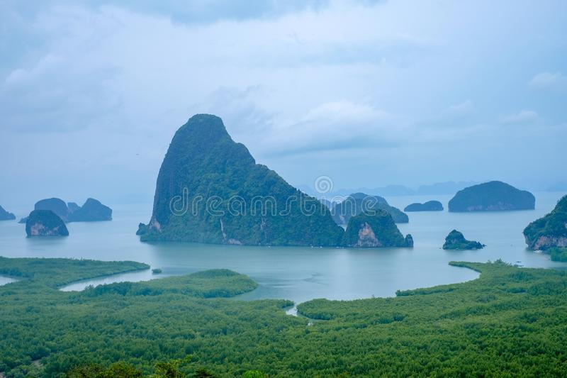 Famous landscape view point in Southen of Thailand. Name `Samet Nang She`, locate in Phang Nga province, Thailand royalty free stock photography