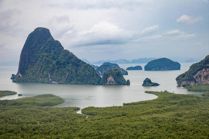 Famous landscape view point in Southen of Thailand. Name `Samet Nang She`, locate in Phang Nga province, Thailand royalty free stock image