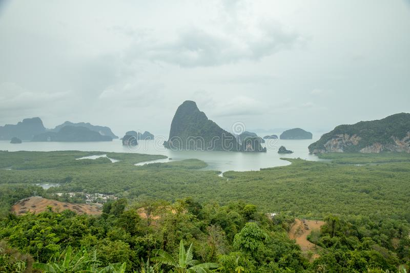 Famous landscape view point in Southen of Thailand. Name `Samet Nang She`, locate in Phang Nga province, Thailand stock photos