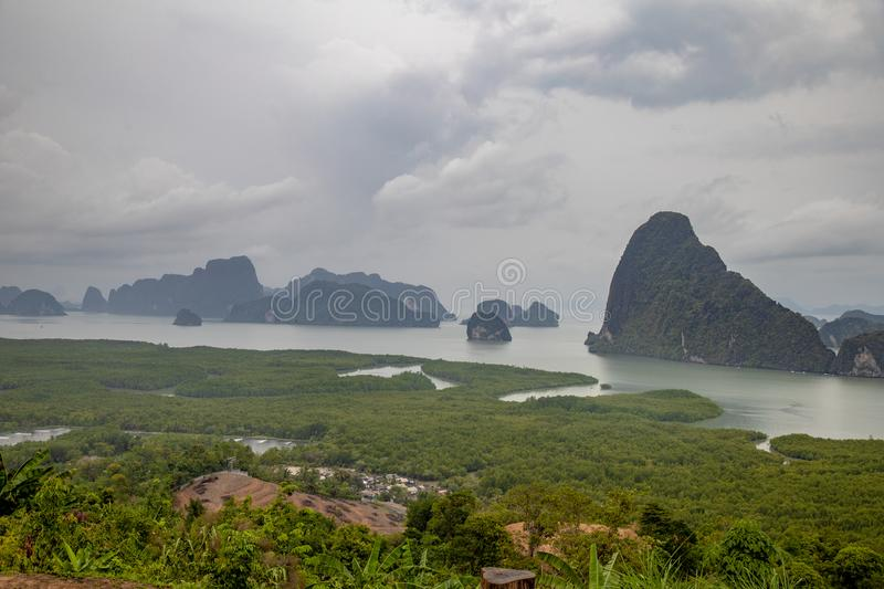 Famous landscape view point in Southen of Thailand. Name `Samet Nang She`, locate in Phang Nga province, Thailand stock images
