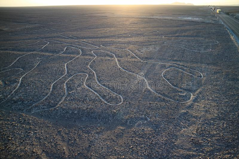 The famous large ancient geoglyphs Nazca lines called Arbol tree, view from observation tower in Nazca desert. Of Peru stock photography
