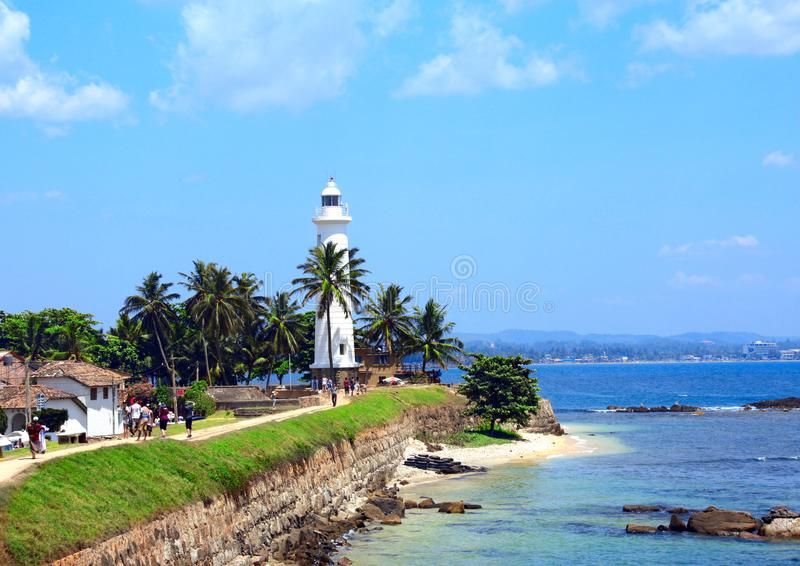Famous lighthouse in Galle Fort, Sri Lanka stock images