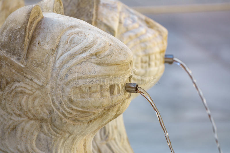 Famous Lion Fountain detail in Alhambra Palace, Granada royalty free stock photos
