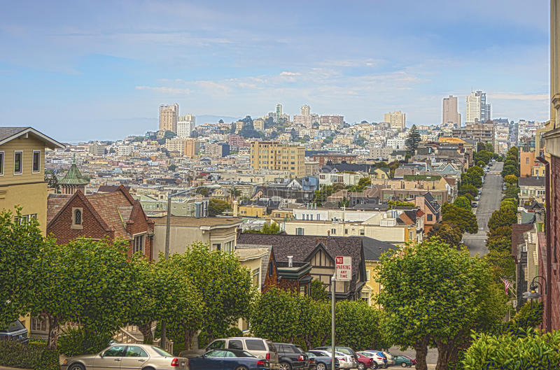Famous Lombard Street on Hills in San-Francisco in California. United States.Horizontal Image Composition stock photography