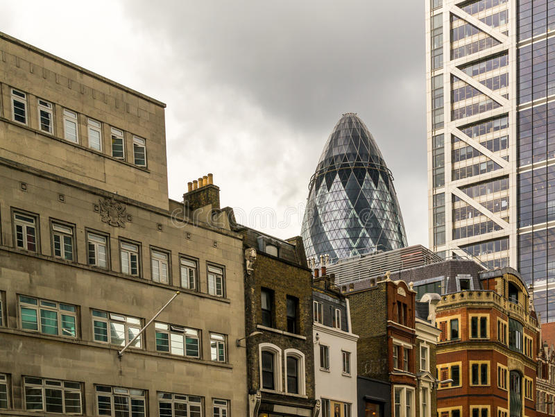 Famous London Gherkin Building and Classic City Buildings royalty free stock images