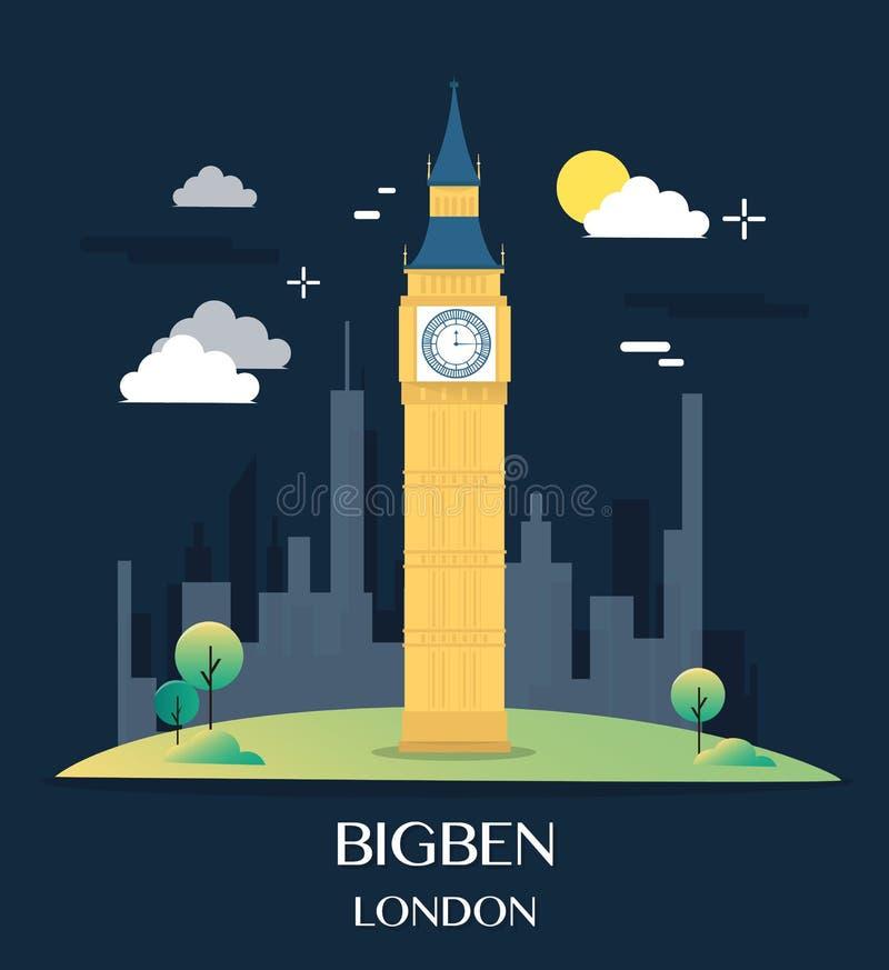 Famous London Landmark Bigben Illustration.  vector illustration