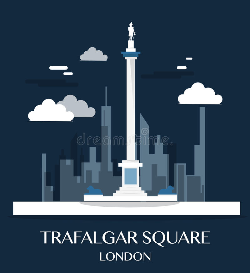 Famous London Landmark Trafalgar Square Illustration. royalty free illustration