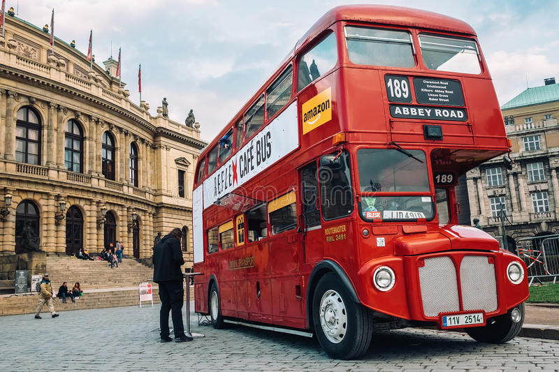 Famous London red bus AEC Routemaster as a Cafe Bus near the Czech Philharmonic. Prague, Czech Republic - OCTOBER 15 : Famous London red bus AEC Routemaster as a royalty free stock images