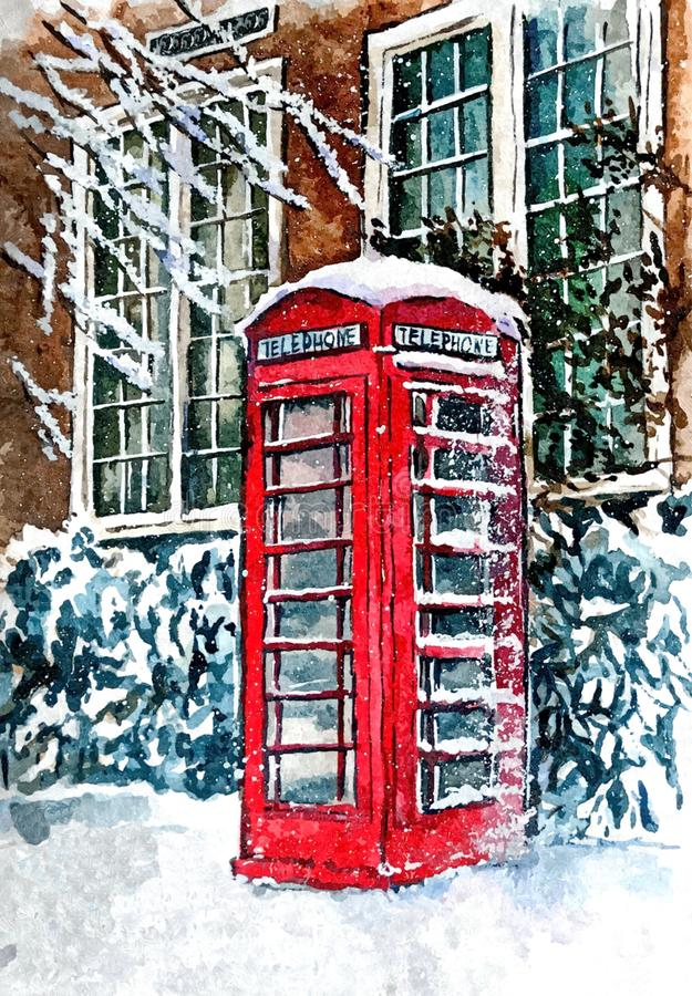 Famous London red telephone booth in snow. Urban landscape. Painting wet watercolor on paper. Naive art. Abstract art. royalty free illustration
