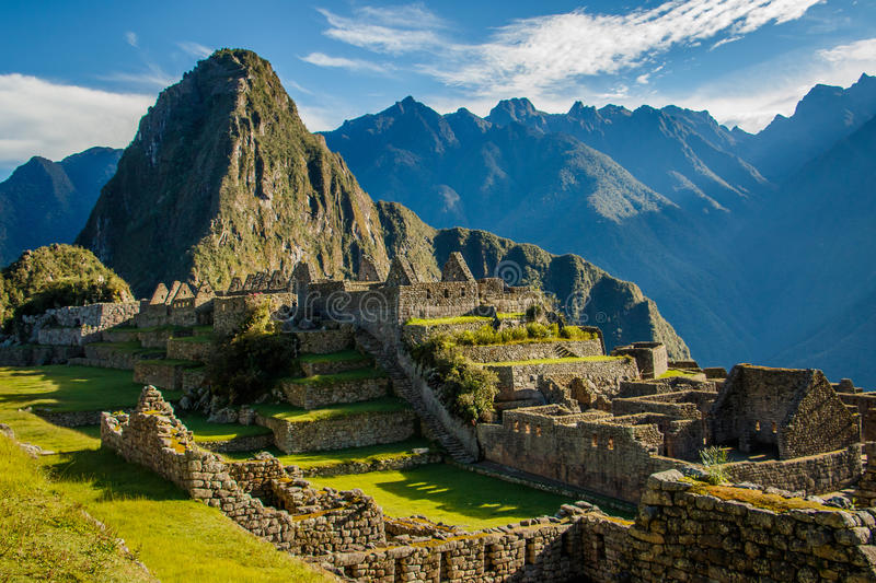 Famous Machu Picchu ruins, near Cuzco, Peru. The most famous place of Peru and whole South America is the ancient landmark of Machu Picchu near Cuzco royalty free stock photography