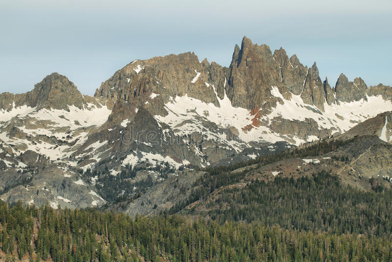 Famous Mammoth Mountain Minarets, California. Famous Mammoth Mountain Minarets in Ritter Range seen from Minaret vista stock photos