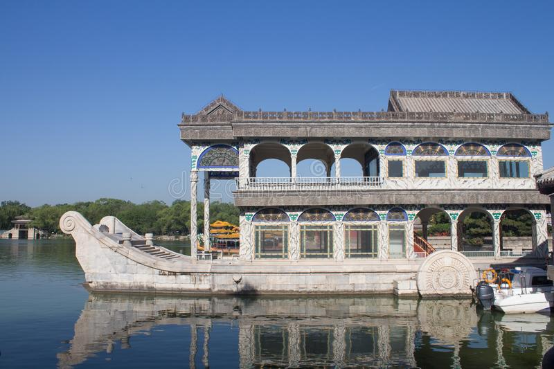 Marble boat of purity and ease at the summer palace, Beijing, China royalty free stock photos