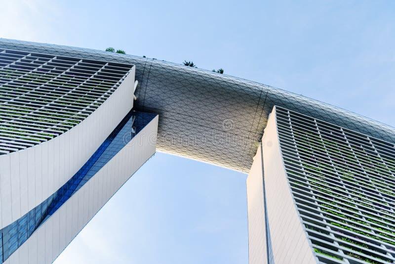 The famous Marina Bay Sands Hotel on blue sky background. Singapore - February 17, 2017: The famous Marina Bay Sands Hotel on blue sky background. Amazing bottom royalty free stock photos