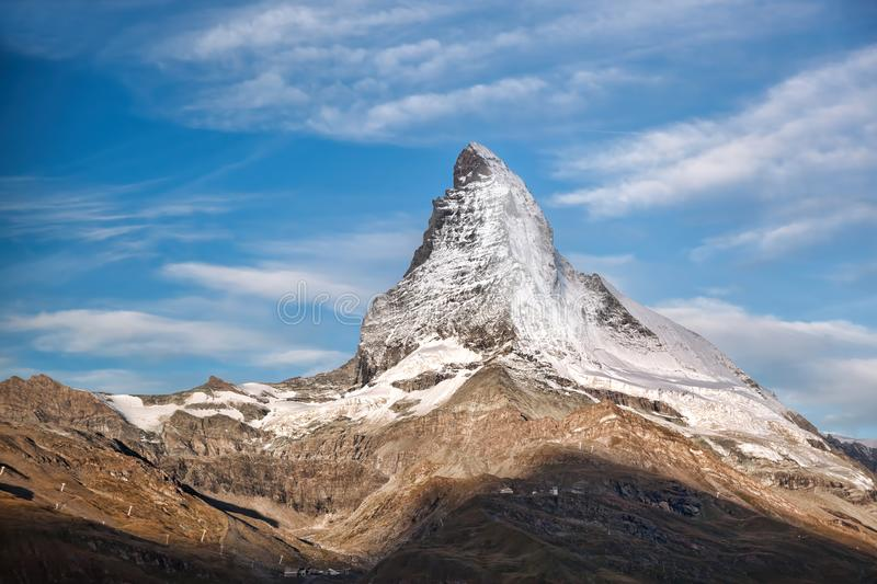 Matterhorn peak against sunset in Zermatt area, Switzerland stock images