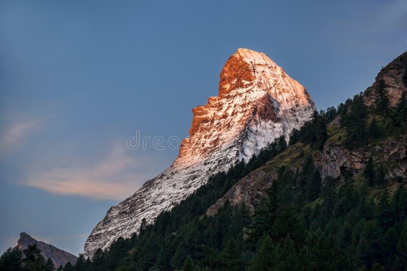 Matterhorn peak against sunset in Zermatt area, Switzerland stock photo