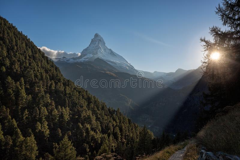 Matterhorn peak against sunset in Zermatt area, Switzerland stock photos