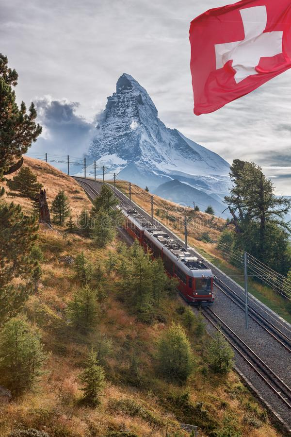 Matterhorn peak with Gornergrat train in Zermatt area, Switzerland stock photography