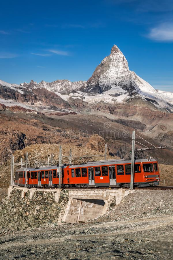 Matterhorn peak with Gornergrat train in Zermatt area, Switzerland royalty free stock photography