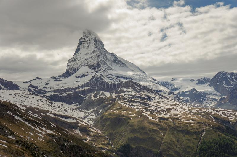Matterhorn summit, in the Alps stock images