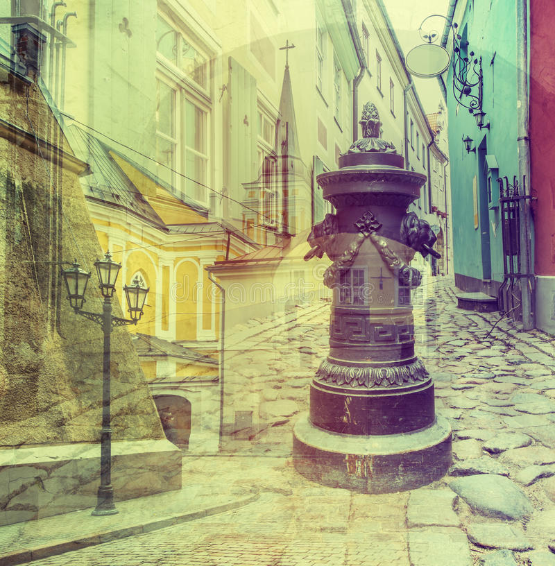 Famous medieval street in city of Riga, Latvia, Europe stock image
