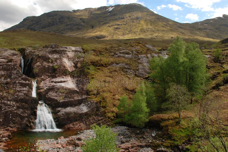 Meeting of Three Waters Waterfall in Glencoe stock photography