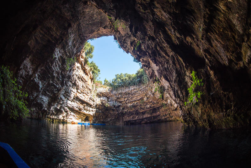 Famous melissani lake on Kefalonia island in Greece stock images