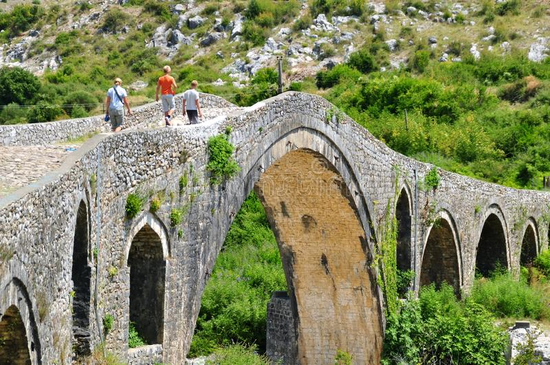 The famous Mesi bridge in Mes, Albania stock photos