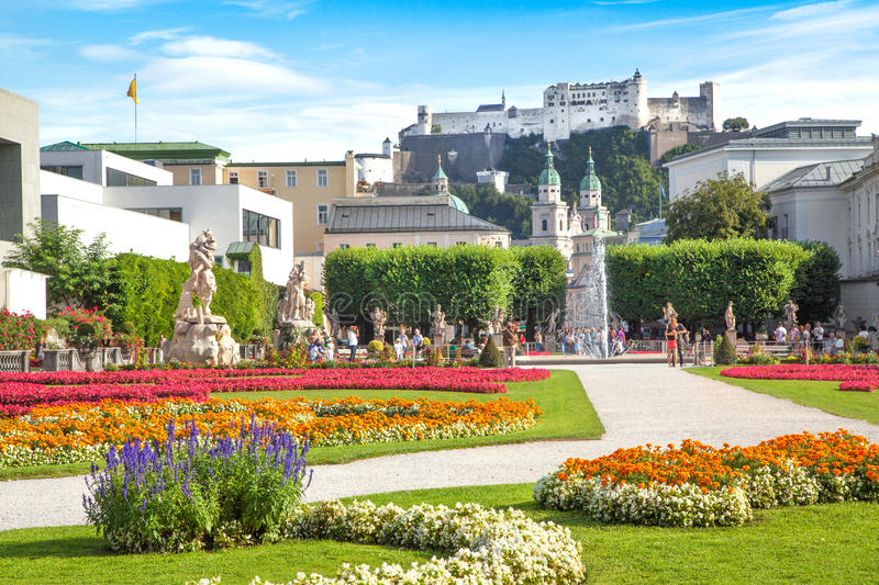 Famous Mirabell Gardens in Salzburg, Austria royalty free stock image
