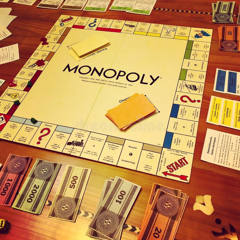 Monopoly game. The famous Monopoly board game stock photography
