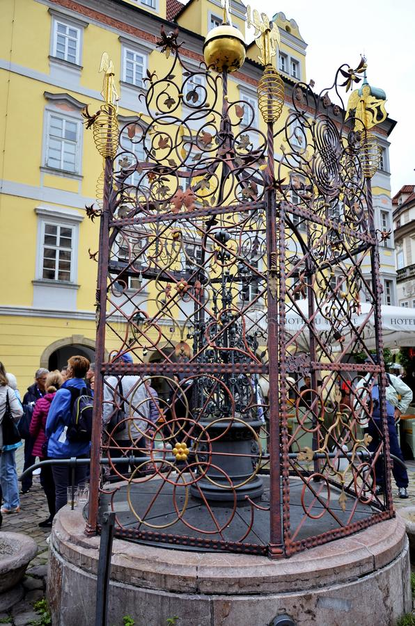 Monument in the old town square of Prague stock photography