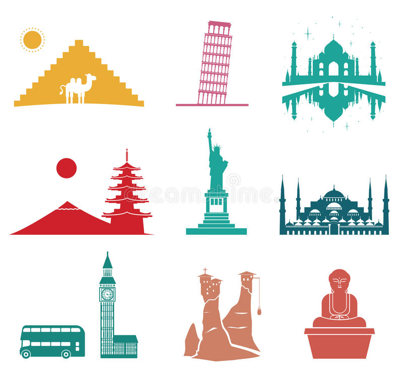Famous monuments travel icons. royalty free illustration