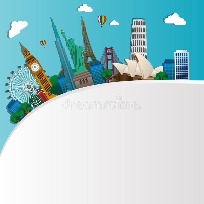 Famous monuments of the world. Symbol vector illustration