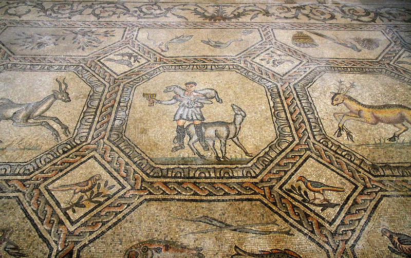 famous mosaic of the good shepherd in the historic church of AQUILEIA royalty free stock photography