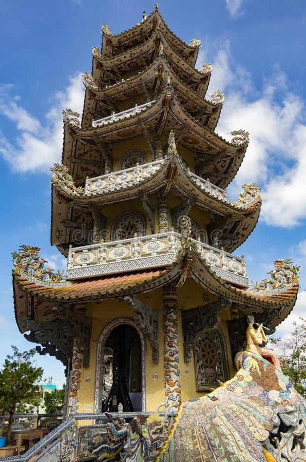 Famous mosaic Linh Phuoc pagoda at Da Lat City, Lam province. Vietnam royalty free stock images