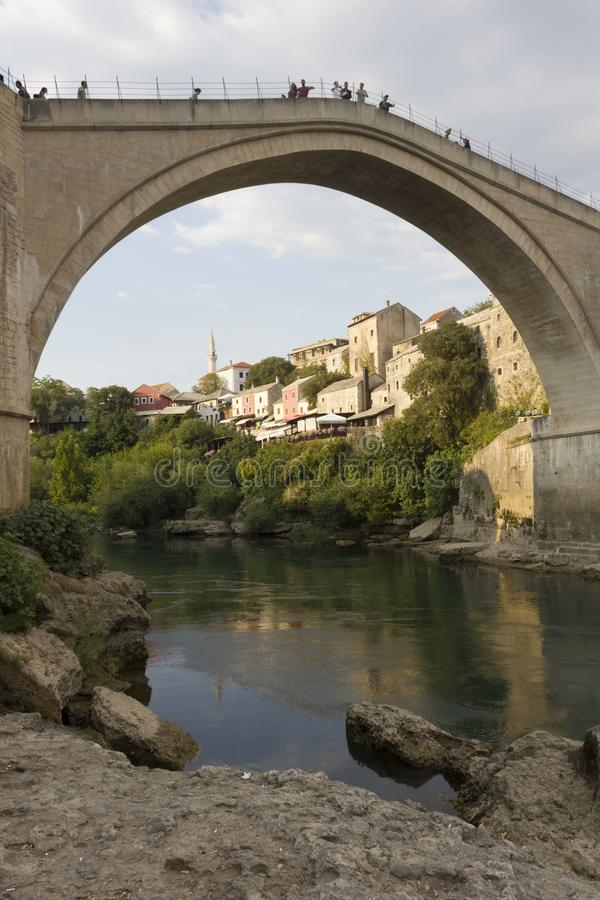 Famous mostar bridge and Neretva river stock images