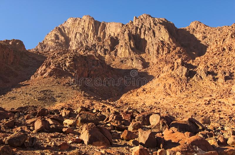 Famous Mount Sinai Mount Horeb, Gabal Musa. Winter morning view. Sacred christian place in Egypt. Pilgrimage place and famous touristic destination. Sinai royalty free stock photography