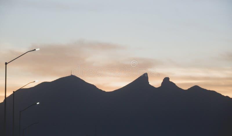 Famous mountain in Monterrey Mexico. Famous Cerro de la Silla mountain in Monterrey Nuevo Leon Mexico stock photo