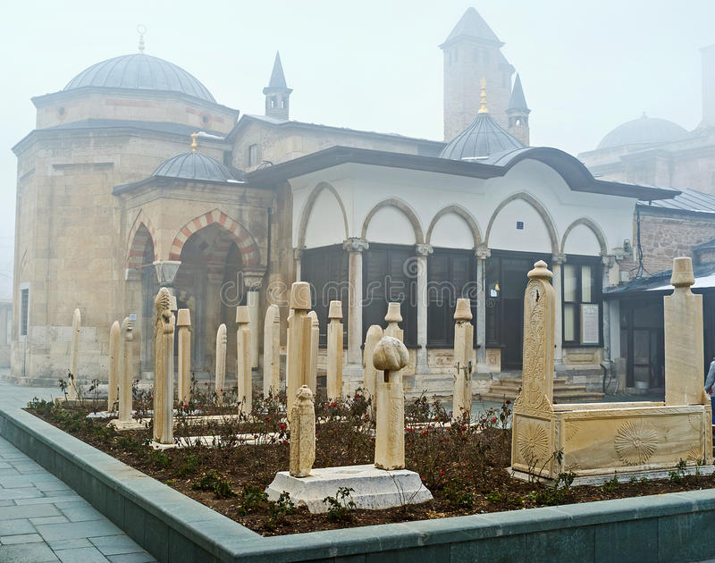 The famous museum of Konya. The Mevlana Mausoleum is the place of historical, architectural and religious interest, so tourists and pilgrims all over the world royalty free stock photos