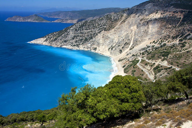 The famous Myrtos beach of Kefalonia - arial view royalty free stock photography
