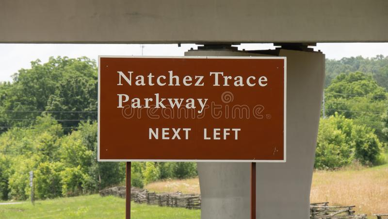 Famous Natchez Trace Parkway in Tennessee - LEIPERS FORK, USA - JUNE 18, 2019 royalty free stock photography
