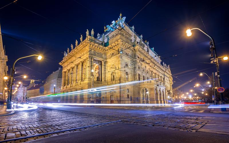 Famous National Theater at night, Prague. stock photography
