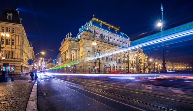 Famous National Theater at night, Prague. stock photos